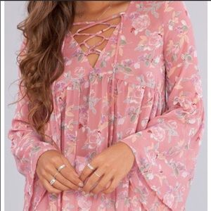 Peach Love Boutique Floral Bell Sleeve Top